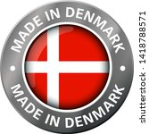 made in denmark flag metal icon  | Shutterstock .eps vector #1418788571