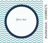 Round Navy Blue Rope Frame...