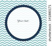 round navy blue rope frame... | Shutterstock .eps vector #141880171