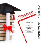 grad hat with diploma and books ...   Shutterstock . vector #141880564