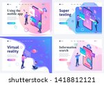 set isometric landing pages  a... | Shutterstock .eps vector #1418812121