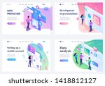 set of isometric landing pages  ... | Shutterstock .eps vector #1418812127
