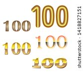 number hundred of gold and gold ... | Shutterstock .eps vector #1418827151