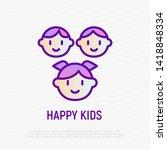 happy smiling kids thin line...   Shutterstock .eps vector #1418848334