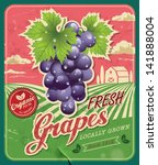 Retro Fresh Grapes Poster Design