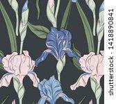 summer iris blossom print.... | Shutterstock .eps vector #1418890841