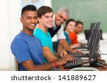 group of students and teacher... | Shutterstock . vector #141889627