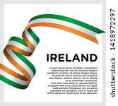 waving flag of ireland on white ... | Shutterstock .eps vector #1418972297