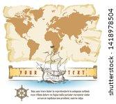 vintage navigation map and sail ...   Shutterstock .eps vector #1418978504