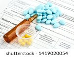 brown ampoule and colorful... | Shutterstock . vector #1419020054