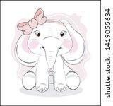 the lovely drawn baby elephant... | Shutterstock .eps vector #1419055634