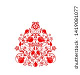 beautiful floral ethnic red...   Shutterstock . vector #1419081077