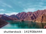 Hatta Dam in Dubai Beautiful scenery of mountain and lake famous tourist attraction of United Arab Emirates place for water adventure activities