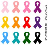 colorful breast cancer ribbons... | Shutterstock .eps vector #141909121