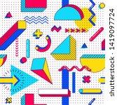 seamless vector memphis pattern.... | Shutterstock .eps vector #1419097724