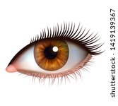 realistic brown eye with... | Shutterstock .eps vector #1419139367