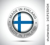 made in finland flag metal icon  | Shutterstock .eps vector #1419150434