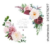 floral vector round frame of... | Shutterstock .eps vector #1419278297