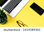 laptop and other objects placed ... | Shutterstock . vector #1419289301