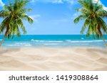 beach with blurry blue ocean...   Shutterstock . vector #1419308864