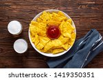 mexican nachos chips with... | Shutterstock . vector #1419350351