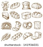 vector hand drawn bread icons... | Shutterstock .eps vector #141936031