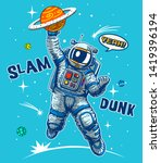funny astronaut playing... | Shutterstock .eps vector #1419396194
