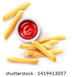 french fries and ketchup tomato ... | Shutterstock .eps vector #1419413057