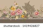 Seamless Textile Flower  Borde...