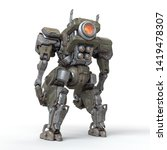 Sci-fi mech soldier standing on white background. Military futuristic Robot Battle with a green and gray color scratched metal armor. Mechanical mech with a turbine controlled by a pilot. 3D rendering