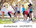 group of runners warming up... | Shutterstock . vector #141950971