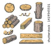 wood logs  trunk and planks ... | Shutterstock .eps vector #1419545531