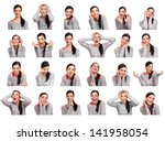 young woman showing several... | Shutterstock . vector #141958054