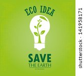 eco idea over green background... | Shutterstock .eps vector #141958171