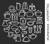 cooking set in circle template...   Shutterstock . vector #1419597761