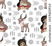 pocahontas deer cartoon... | Shutterstock .eps vector #1419603914