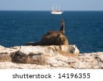 An Anchored Cruise Ship And A...
