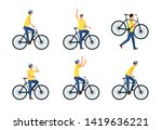 set of man riding or sitting on ... | Shutterstock .eps vector #1419636221