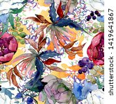 bouquet floral botanical...   Shutterstock . vector #1419641867