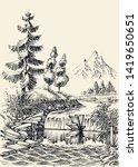 mountain river flow landscape ...   Shutterstock .eps vector #1419650651