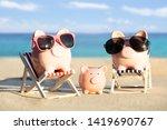 front view of a pink piggybank... | Shutterstock . vector #1419690767
