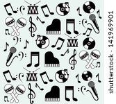 music icons over blue... | Shutterstock .eps vector #141969901