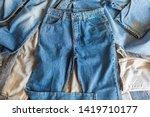 many denim blue jeans background | Shutterstock . vector #1419710177