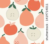 pear fruits seasmless pattern... | Shutterstock . vector #1419714011
