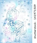 Santa Claus Christmas card with gifts and snowman Illustration for Holiday Design, vector - stock vector