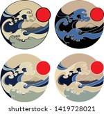 red sun with japanese wave and... | Shutterstock .eps vector #1419728021