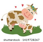 a cow and her calf together on... | Shutterstock .eps vector #1419728267