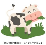 the calf is chewing grass on a... | Shutterstock .eps vector #1419744821