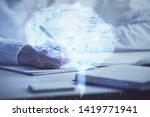 double exposure of woman's... | Shutterstock . vector #1419771941