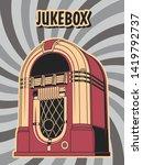 Vintage Jukebox Isolated  Blac...